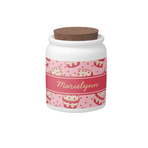 Modelo y cinta brillantes de la magdalena del cora jarra para caramelo