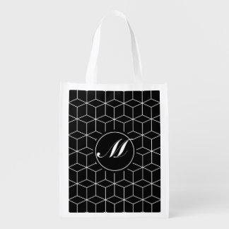 Modelo y monograma de la geometría bolsa reutilizable