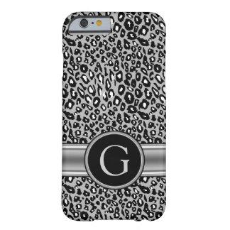 Modelo y monograma de plata de moda del leopardo funda de iPhone 6 barely there