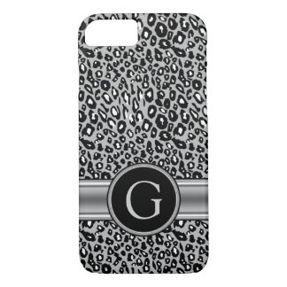 Modelo y monograma de plata de moda del leopardo funda iPhone 7