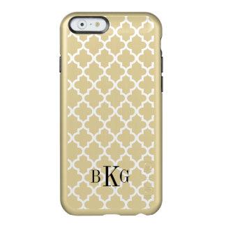 Modelo y monograma metálicos de Quatrefoil del oro Funda Para iPhone 6 Plus Incipio Feather Shine