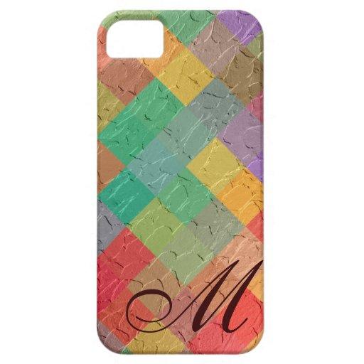 Modelo y monograma multicolores 4 del diamante funda para iPhone 5 barely there