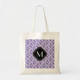 Modelo y monograma púrpuras del damasco bolsa tela barata
