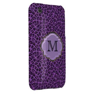Modelo y monograma púrpuras elegantes del leopardo iPhone 3 carcasas