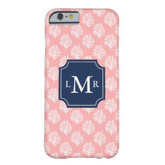 Modelo y monograma rosados del arrecife de coral funda para iPhone 6 barely there
