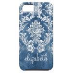 Modelo y nombre azules del damasco del vintage del iPhone 5 cárcasas