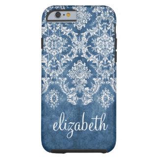 Modelo y nombre azules del damasco del vintage del funda de iPhone 6 tough