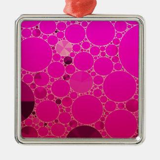Modelos abstractos rosados fluorescentes adorno navideño cuadrado de metal