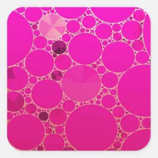 Modelos abstractos rosados fluorescentes pegatina cuadrada