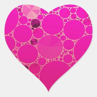 Modelos abstractos rosados fluorescentes pegatina en forma de corazón