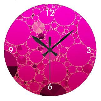 Modelos abstractos rosados fluorescentes reloj redondo grande