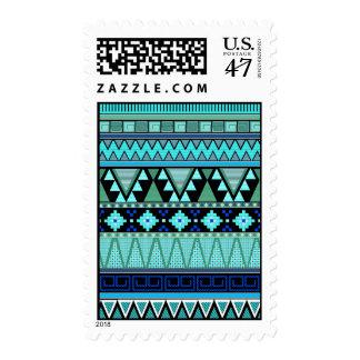 Modelos aztecas azules/menta/franqueo verde estampillas