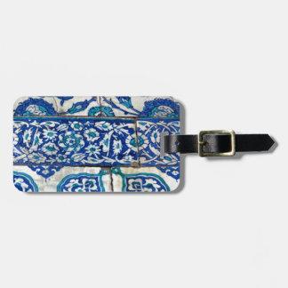 Modelos azules y blancos del iznik clásico del etiqueta de maleta
