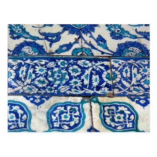 Modelos azules y blancos del iznik clásico del tarjeta postal