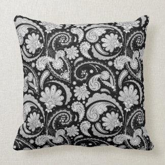 Modelos blancos de Paisley del negro lindo del Cojín Decorativo