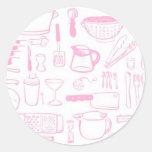 Modelos coloridos de la cocina pegatina redonda