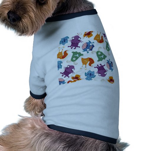 Modelos coloridos de la diversión loca de los mons camiseta con mangas para perro