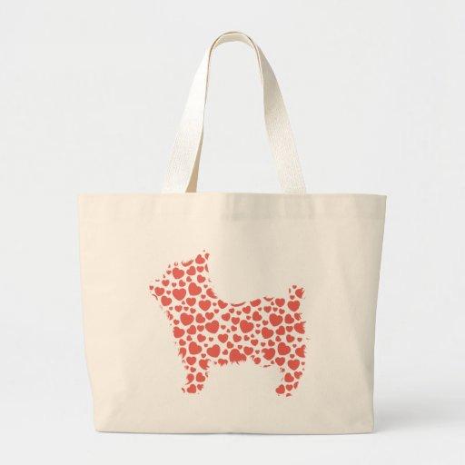 Modelos del corazón de Yorkshire Terrier Bolsa Tela Grande