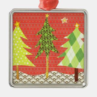 Modelos del ornamento del navidad adorno cuadrado plateado