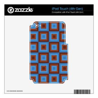 Modelos geométricos azules de Brown Calcomanías Para iPod Touch 4G