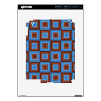 Modelos geométricos azules de Brown Pegatina Skin Para iPad 3