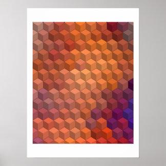 Modelos geométricos cubos púrpuras y anaranjados impresiones