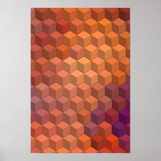 Modelos geométricos cubos púrpuras y anaranjados poster
