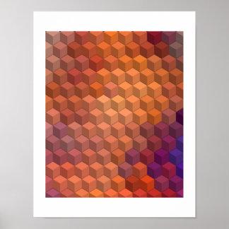 Modelos geométricos cubos púrpuras y anaranjados posters