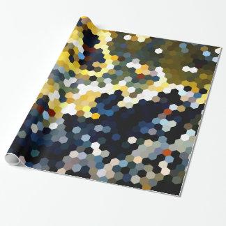 Modelos geométricos hexágonos amarillos y azules papel de regalo