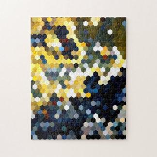 Modelos geométricos hexágonos amarillos y azules puzzle