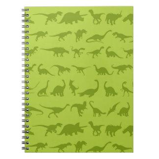 Modelos lindos de los dinosaurios verdes para los spiral notebook