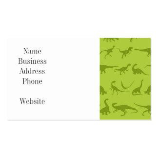 Modelos lindos de los dinosaurios verdes para los plantilla de tarjeta de negocio