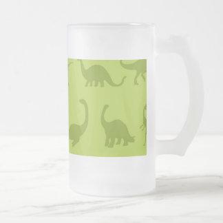 Modelos lindos de los dinosaurios verdes para los taza de cristal