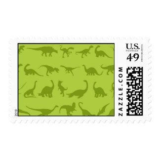 Modelos lindos de los dinosaurios verdes para los timbre postal