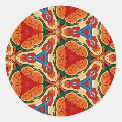 Modelos multicolores coloridos de la repetición pegatina redonda