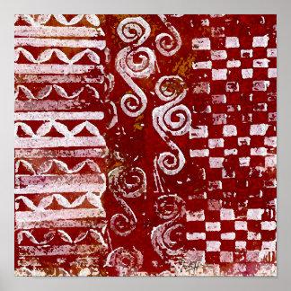 Modelos tallados mano en lona roja posters