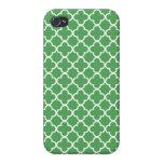 Modelos verdes y blancos de Quatrefoil iPhone 4 Cárcasa