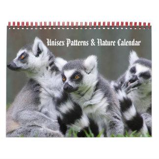 Modelos y calendario unisex de la naturaleza