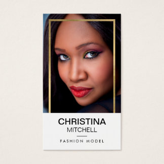 Models and Actors Modern Headshot Faux Gold Frame Business Card