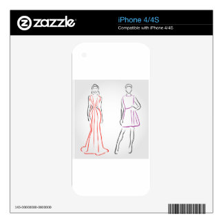 Models in designer outfits decals for iPhone 4