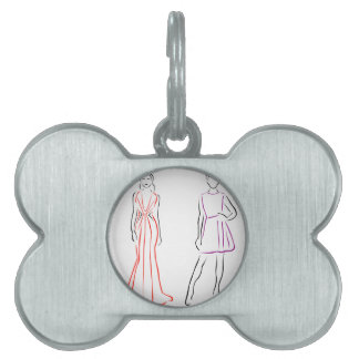 Models in designer outfits pet tags