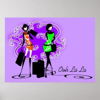 Models shopping purple girls poster