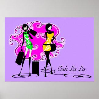 Models shopping purple pink girls print