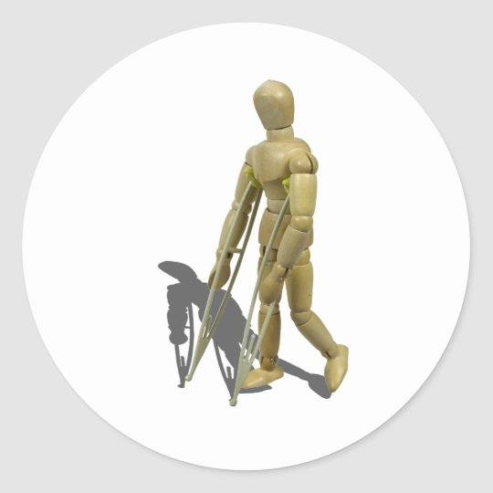 ModelWalkingWithCrutches110511 Classic Round Sticker