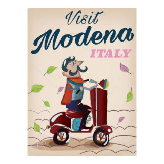 Modena Italy Scooter travel poster