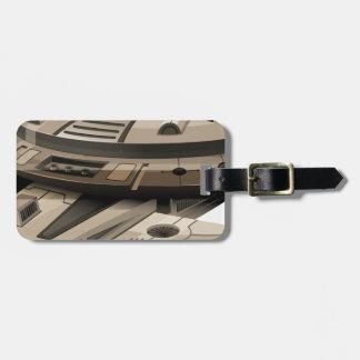 Moder spaceship on white luggage tag