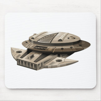 Moder spaceship on white mouse pad