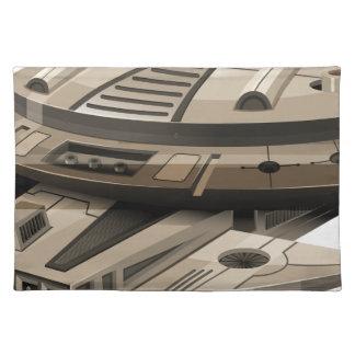Moder spaceship on white placemat