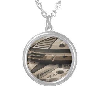 Moder spaceship on white silver plated necklace