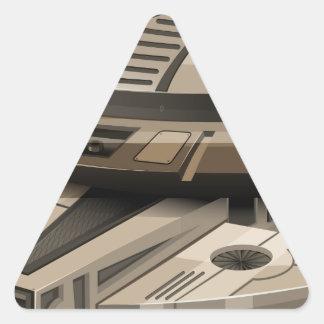 Moder spaceship on white triangle sticker